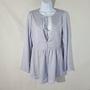 TOBI Light Gray Long Sleeves Lined Romper Size M